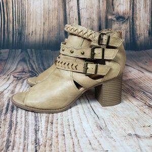 Sugar Ankle Boots Open Toe Block Heel Tan Booties